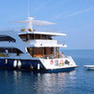This excellent liveaboard at anchor in the Maldives