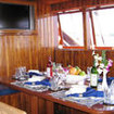 Air-conditioned dining and saloon aboard the Felicia liveaboard