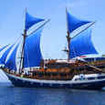 Indonesia diving liveaboard Cheng Ho, under sail in Komodo