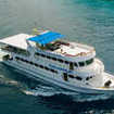 Aerial view of the MV Parawa liveaboard, cruising off Thailand