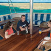 The covered deck is the perfect place to discuss the next Great Barrier Reef dive