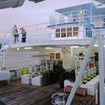 Stern view of the various decks of this Cocos liveaboard