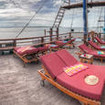 Indonesian liveaboard - double and single loungers