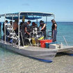 The dive boat at Kadava Matana Resort