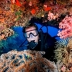 A scuba diver observes the reefs near Ao Nang Beach