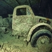 An old truck in the hold of the Umbria wreck