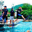 Giant stride boat entry during the Open Water Diver Course
