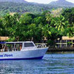 Taveuni Divers' boat at the Garden Island Resort, Taveuni