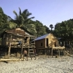 Moken village scene on the beach of an island, Mergui Archipelago, Burma