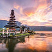 One of the popular destinations in Bali - Pura Ulun Danu Bratan on Lake Bratan