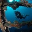 Scuba diving at the Liberty Wreck, Bali