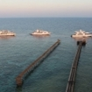 View from the lighthouse of Red Sea liveaboards moored at Daedalus Reef