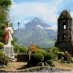 A church ruin with volcano in Bicol