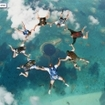 Sky diving over the Great Blue Hole of Belize