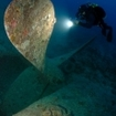 Diving at the propeller of the Thistlegorm