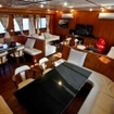 The saloon on a Malaysian liveaboard charter dive boat