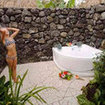 An open air bathroom of the Paradise Taveuni Resort, Fiji