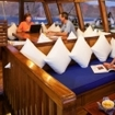 Relax in the Dancer's saloon during your Flores liveaboard diving cruise