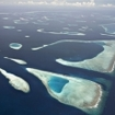 An aerial view of North Male Atoll, Maldives