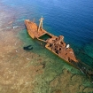 The rusting hull of a ship in Honduras