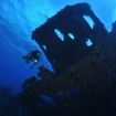 Diving at the Maadhoo Wreck, Haa Alifu Atoll, Maldive Islands