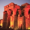 Beautiful night view of the temple of Kom Ombo, River Nile, Egypt