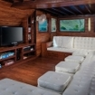 The Samata liveaboard's plush indoor saloon