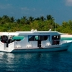 A dhoni dive boat in the Maldives