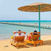 Relax on a Red Sea beach in Hurghada, Egypt