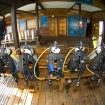 Dive gear is conveniently stored in the open air dive centre