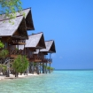 Beach front chalets, Lankayan Island Dive Resort, Malaysia