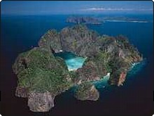 Aerial view of Phi Phi Leh in the Phi Phi Islands